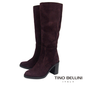 Tino Bellini義大利進口麂皮寬筒高跟長靴_ 深咖  A69002 歐洲進口款