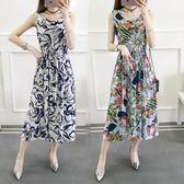 夏季新款韓版碎花無袖背心裙中長款大碼顯瘦抽繩棉綢連身裙女