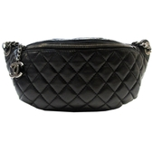 CHANEL 香奈兒 黑色羊皮菱格紋拉鍊腰包Classic Banane Fanny Pack Belt Bag BRAND OFF