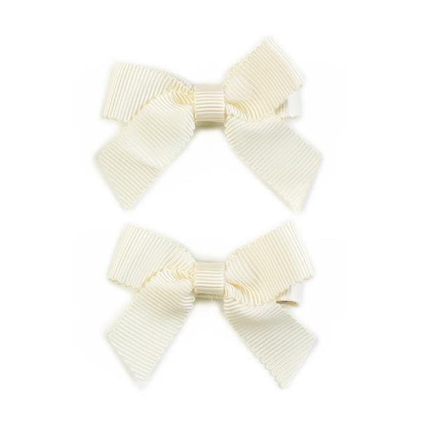 美國 Ribbies Clippies 經典蝴蝶結2入組-米白