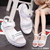涼鞋2018新款女韓版厚底鬆糕跟中跟露趾平底防滑休閒學生涼鞋女 LannaS
