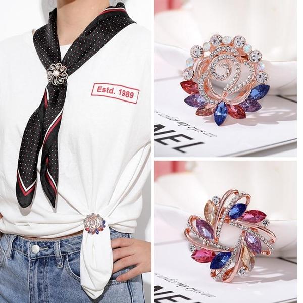 絲巾扣女胸針韓版百搭簡約創意裝飾夾衣服下擺t恤扣環衣角打結扣