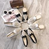 娃娃鞋 包頭半拖鞋女2021年新款夏季時尚外穿珍珠草編亞麻平底懶人漁夫鞋