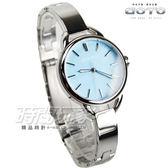 GOTO 簡約時刻手練女錶 防水手錶 學生錶 藍寶石水晶 粉藍色x銀 GS0377L-2S-B21