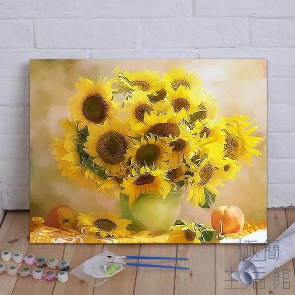 diy數字油畫花卉手公填色減壓畫手繪減壓畫裝飾畫【極簡生活】