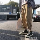 九分褲男-日繫美式街頭潮流休閒褲子男韓版寬鬆直筒工裝褲青少年九分褲 提拉米蘇
