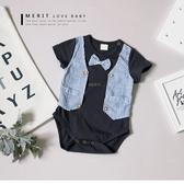 寶寶小紳士領結直條紋包屁衣棉質棉麻氣質文青兔裝嬰兒舒適 哎北比