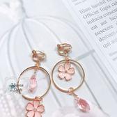 《花花創意会社》日本款。櫻花圓圈吊墜合金耳環【H6305】