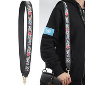 包包肩帶配件撞色寬肩帶花朵刺繡街拍時尚皮帶斜背包/側背包帶包彩色帶子【快速出貨】