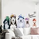 創意狗狗牆壁貼畫床頭臥室裝飾狗年牆貼紙寵物店宿舍牆面門貼    3C優購