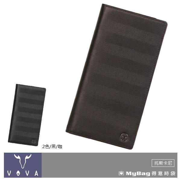 VOVA 沃汎 皮夾 咖啡色  托斯卡尼系列14卡AI紋長夾  VA111W016BR  MyBag得意時袋