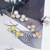 彩色貓眼石水晶耳環紐扣造型短款氣質百搭森系耳環【ADE191】