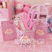 粉色玫瑰花鐵藝鏤空桌面小收納筒 米蘭shoe