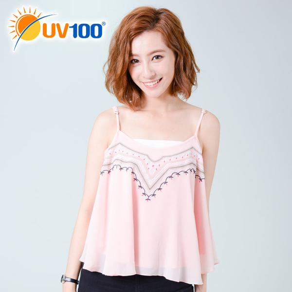UV100 防曬 抗UV-民族風繡花雪紡傘狀背心-女
