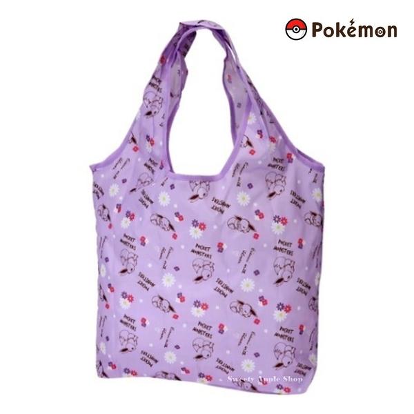 【SAS】日本限定 寶可夢 皮卡丘家族 伊布 小花英字滿版 折疊收納式 購物袋/環保袋 /手提袋 (紫色)