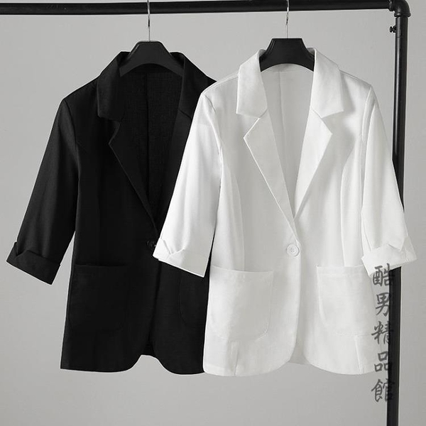 2020春夏新款短款棉麻西裝外套女大碼薄款垂感小個子上衣亞麻西服 酷男精品館