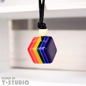 【PAR.T】彩虹文創小物/六彩項鍊飾品/方塊項鍊(深藍)