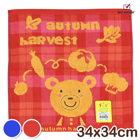 【衣襪酷】純棉紗布方巾 楓葉熊款 小毛巾 手巾 手帕 BEST POPULAR