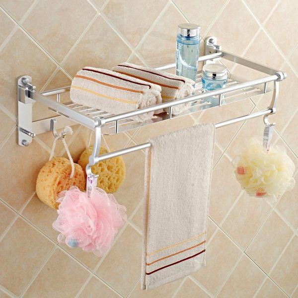 小熊居家太空鋁亮光多功能浴巾架 毛巾架 帶五活動鉤 浴室掛件特價