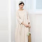 正韓 亞麻拼接口袋寬鬆長款洋裝 (6839) 預購