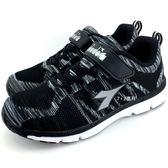《7+1童鞋》 大童  DIADORA  迪亞多納  魔鬼氈  運動鞋 E281  黑色