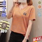 高含棉條紋皮格徽章V領上衣(2色) XL-4XL【425293W】【現+預】-流行前線-