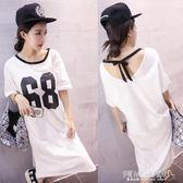 T恤裙 新款/韓版女裝大碼系帶68號寬鬆純棉短袖洋裝t恤裙女潮 傾城小鋪