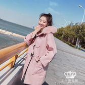 毛呢外套 牛角扣大衣女中長款森系冬季新款流行韓版學生