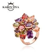 食指戒指女韓版潮18K玫瑰金時尚夸張歐美個性不掉色七彩水晶戒指