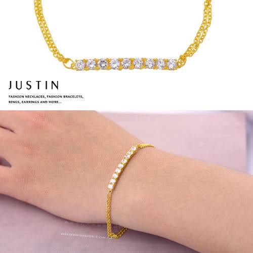 Justin金緻品 黃金手鍊 閃鑽時尚 金飾 9999純金手鍊 金手鍊 金手環 簡約款式