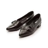 【Fair Lady】飾釦拼接剪裁尖頭低跟鞋 黑
