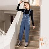 牛仔背帶褲女韓版寬鬆復古減齡小個子褲子夏【橘社小鎮】
