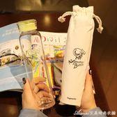 韓國細長便攜玻璃杯個性創意男女學生隨行杯纖細密封水瓶簡約水杯艾美時尚衣櫥