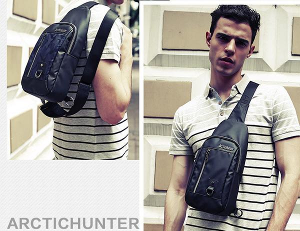 【男包】胸包 Arctic Hunter 男胸包 斜跨包 後背包 直拉鍊 #6/三色可選