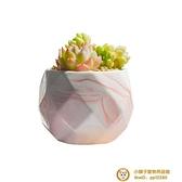 2個裝 多肉花盆粉色大理石紋白瓷植物小花盆可愛簡約陶瓷花盆超級品牌【小獅子】