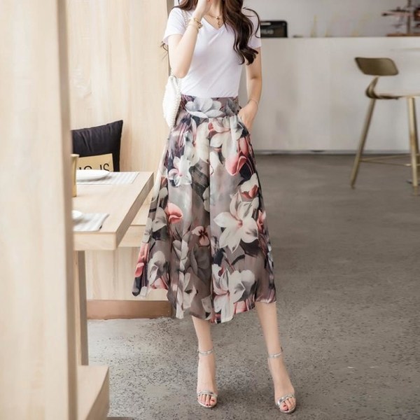 寬管褲 闊腿褲女夏季雪紡薄款七分褲裙2021新款寬鬆高腰大碼印花寬腿裙褲