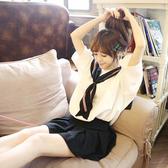 SISI【E6010】萌系女孩兒敲可愛寬鬆海軍風水手服雪紡上衣