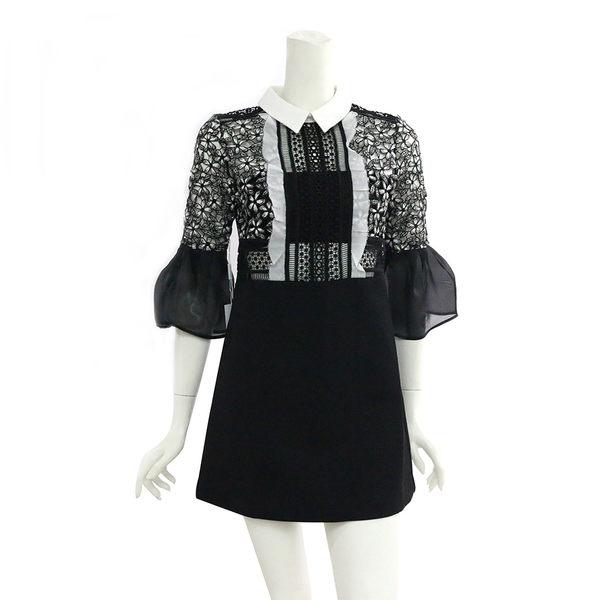 【self-portrait】黑白蕾絲7分袖短洋裝 SP9078