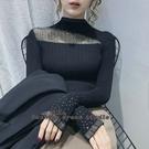依多多 秋新款蕾絲半高領洋氣打底衫上衣修身長袖套頭毛衣針織衫