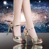 魚口涼鞋/女夏新款高跟防水台百搭韓版性感細跟女鞋