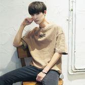 夏季短袖t恤男韓版潮流學生寬鬆個性五分袖日系百搭5分半袖上衣服 自由角落