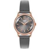 【台南 時代鐘錶 Henry London】英倫復古風潮 瑰麗晶鑽時尚腕錶 HL34-SS-0200 皮帶 玫瑰金/深灰 34mm