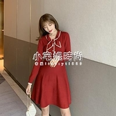 秋冬新款韓版女裝2047#顯瘦綁帶收腰長袖針織洋裝   【全館免運】