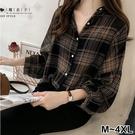 【QV2630】魔衣子-格子寬鬆中長袖襯衫