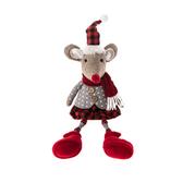 聖誕老鼠木頭長腿坐姿擺飾41cm-女