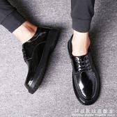 男鞋子潮鞋車縫線黑色正裝休閒皮鞋男學生秋季英倫馬丁鞋韓版小皮鞋 科炫數位