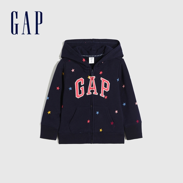 Gap女幼童 Logo甜美印花連帽休閒上衣 661621-海軍藍