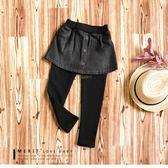 純棉 簡約排釦素面牛仔褲裙 率性 內不倒絨 保暖 個性 女童 童裝 假兩件【哎北比童裝】