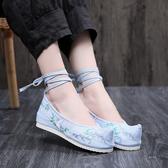 新款民族風繡花鞋 內增高古風漢服翹頭布鞋女中國風舞蹈鞋