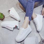 女款休閒運動舒適厚底小白鞋 編號155